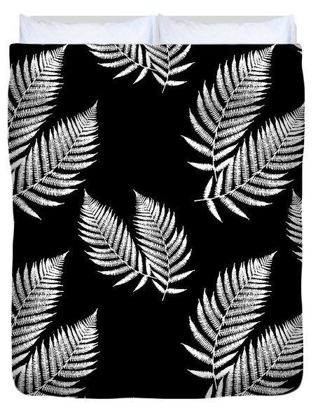Duvet Cover featuring the mixed media Fern Pattern Black And White by Christina Rollo