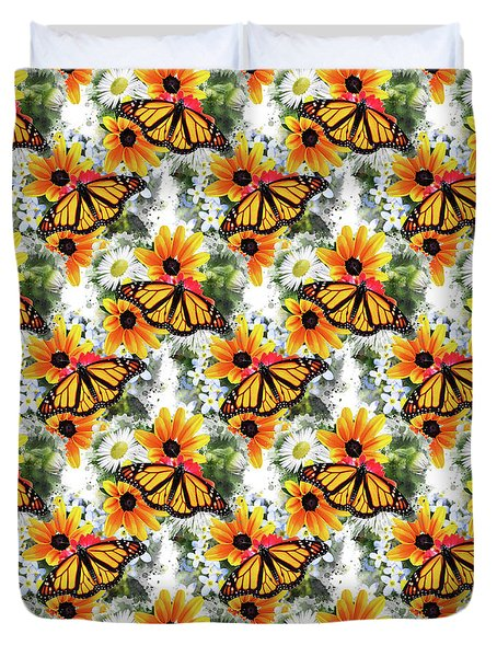 Duvet Cover featuring the mixed media Butterfly Pattern by Christina Rollo