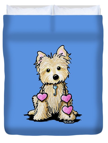 Heartstrings Cairn Terrier Duvet Cover by Kim Niles