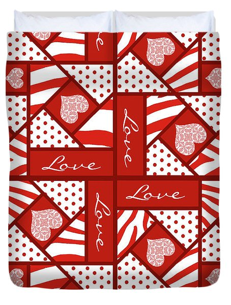 Duvet Cover featuring the digital art Valentine 4 Square Quilt Block by Methune Hively