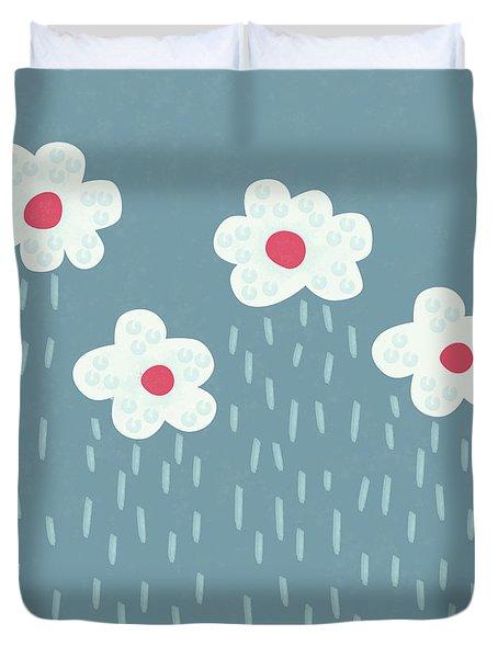 Raining Flowery Clouds Duvet Cover