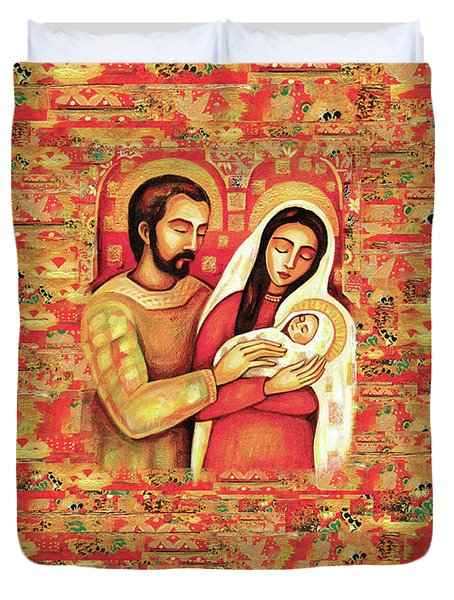 Duvet Cover featuring the painting Holy Family by Eva Campbell