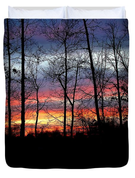 Duvet Cover featuring the photograph Carolina Sunset by Sue Melvin