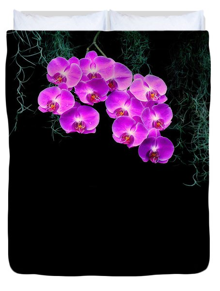 Duvet Cover featuring the photograph Dew-kissed Orchids by Sue Melvin