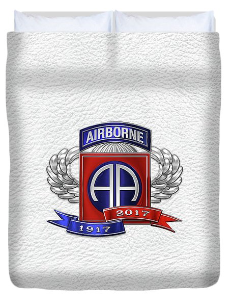 82nd Airborne Division 100th Anniversary Insignia Over White Leather Duvet Cover