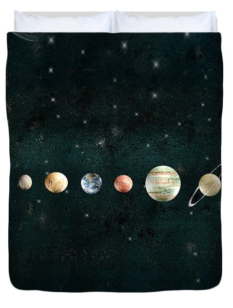 Duvet Cover featuring the painting The Solar System by Bri B