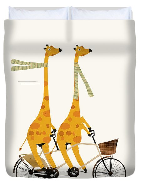 Duvet Cover featuring the painting Lets Tandem Giraffes by Bri B