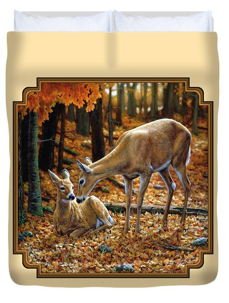 Whitetail Deer - Autumn Innocence 2 Duvet Cover