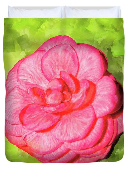 Duvet Cover featuring the mixed media Winter's Rose - The Camellia by Mark Tisdale