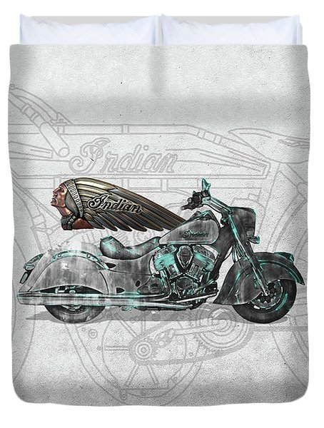 Duvet Cover featuring the digital art 2017 Indian Chief Classic Motorcycle With 3d Badge Over Vintage Blueprint  by Serge Averbukh