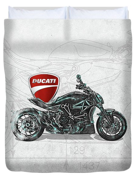 Duvet Cover featuring the digital art 2017 Ducati Xdiavel-s Motorcycle With 3d Badge Over Vintage Blueprint  by Serge Averbukh