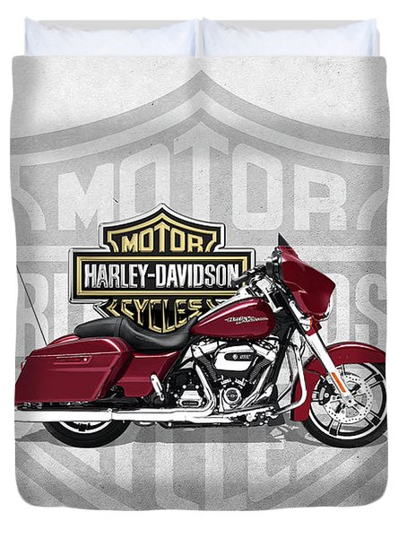 Duvet Cover featuring the digital art 2017 Harley-davidson Street Glide Special Motorcycle With 3d Badge Over Vintage Background  by Serge Averbukh