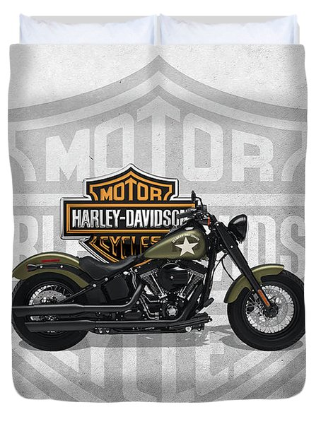 Duvet Cover featuring the digital art 2017 Harley-davidson Softail Slim S Motorcycle With 3d Badge Over Vintage Background  by Serge Averbukh