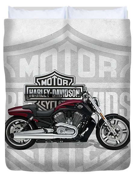 Duvet Cover featuring the digital art 2017 Harley-davidson V-rod Muscle Motorcycle With 3d Badge Over Vintage Background  by Serge Averbukh