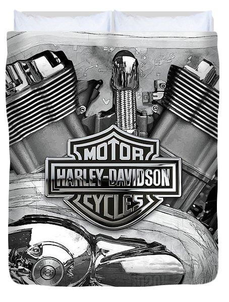Duvet Cover featuring the digital art Harley-davidson Motorcycle Engine Detail With 3d Badge  by Serge Averbukh