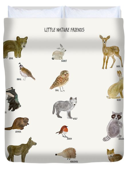 Duvet Cover featuring the painting Little Nature Friends by Bri B