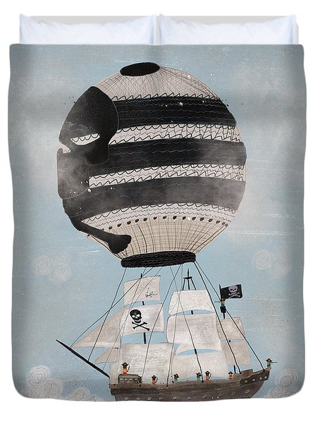 Duvet Cover featuring the painting Sky Pirates by Bri B
