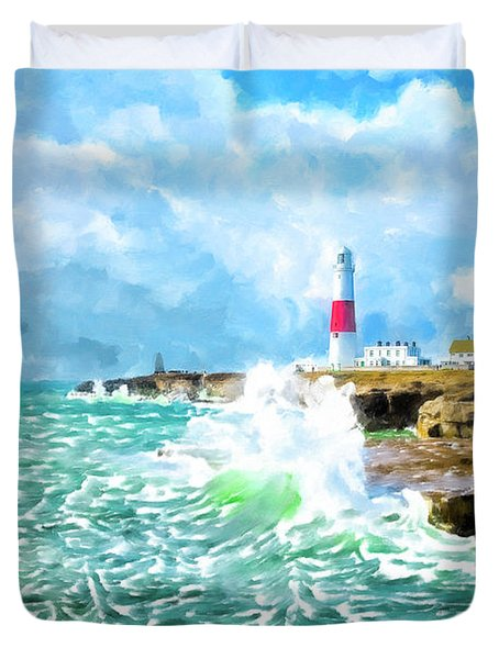 Duvet Cover featuring the mixed media Clearing Storm - Portland Bill Lighthouse by Mark Tisdale