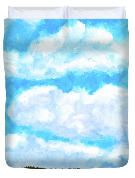 Duvet Cover featuring the mixed media Lakeside Blue - Georgia Abstract Landscape by Mark Tisdale