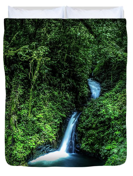 Duvet Cover featuring the photograph Jungle Waterfall by Nicklas Gustafsson