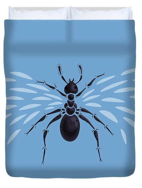Abstract Winged Ant Duvet Cover by Boriana Giormova