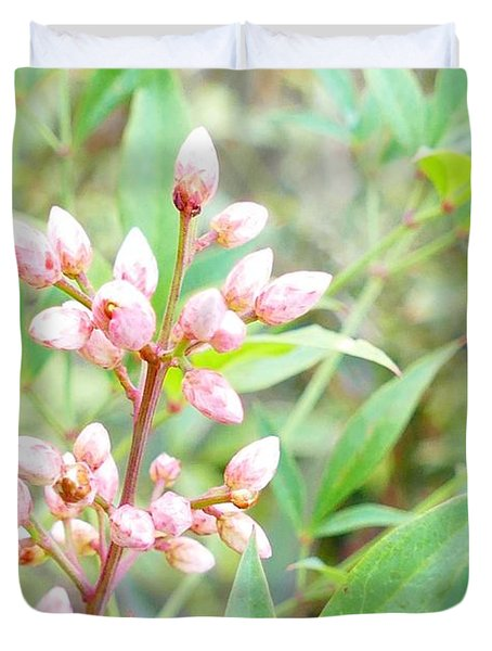 Pale Powder Pink Plant Duvet Cover
