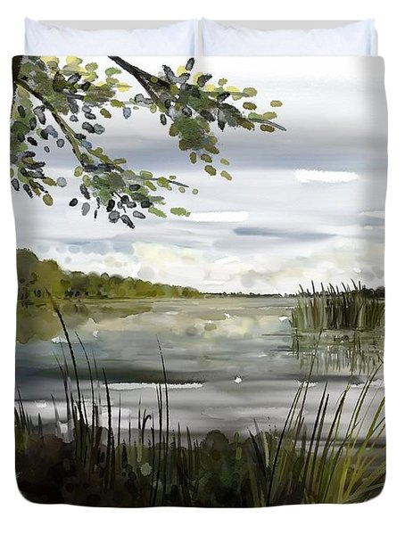 Quiet Day By Lake Duvet Cover