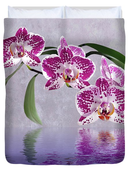 Deep Pink Orchid Reflections Duvet Cover