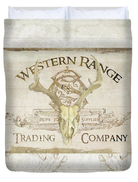 Duvet Cover featuring the painting Western Range 3 Old West Deer Skull Wooden Sign Trading Company by Audrey Jeanne Roberts