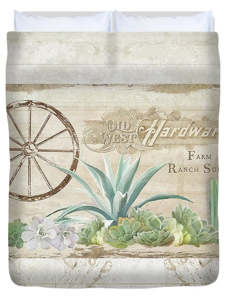 Duvet Cover featuring the painting Western Range 4 Old West Desert Cactus Farm Ranch  Wooden Sign Hardware by Audrey Jeanne Roberts