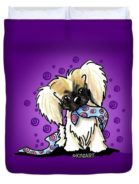 Pekingese Puppy Duvet Cover by Kim Niles