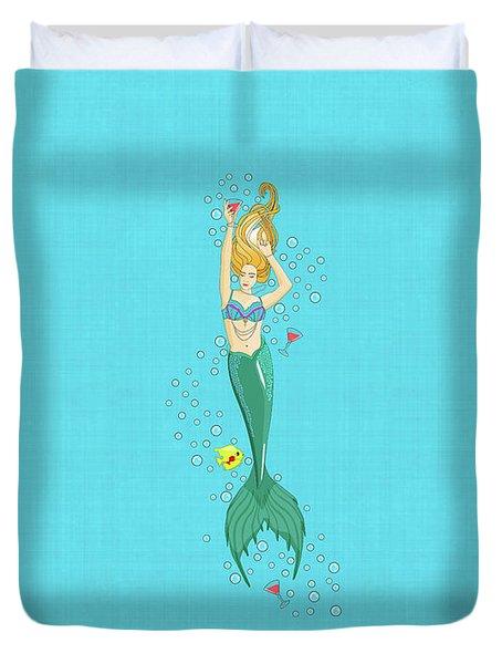 Martini Mermaid Duvet Cover