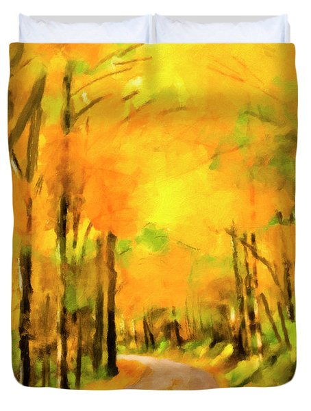 Duvet Cover featuring the painting Golden Miles - Ode To Appalachia by Mark Tisdale