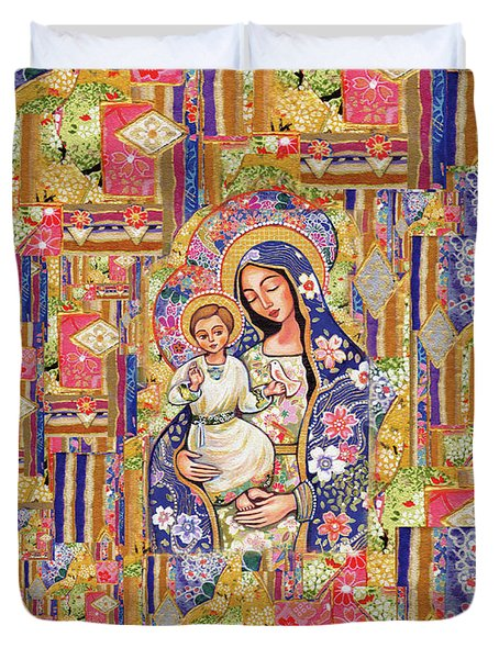 Duvet Cover featuring the painting Panagia Eleousa by Eva Campbell
