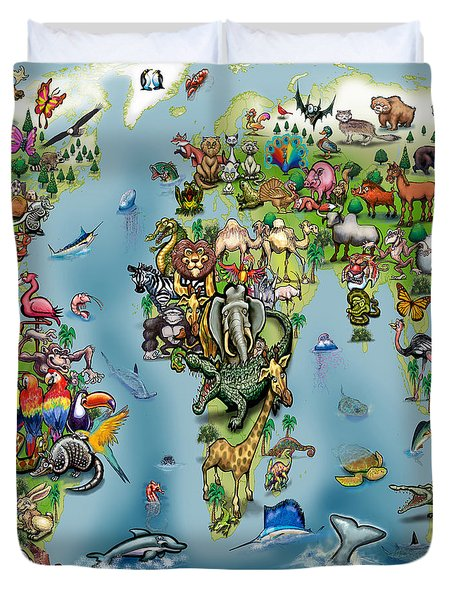 Animals World Map Duvet Cover