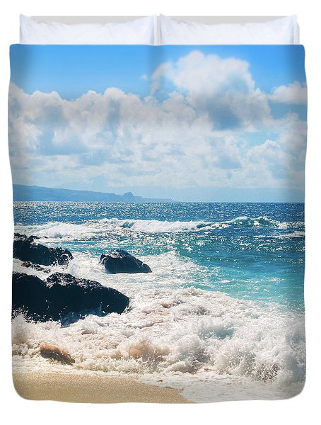 Hookipa Beach Maui Hawaii Duvet Cover by Sharon Mau
