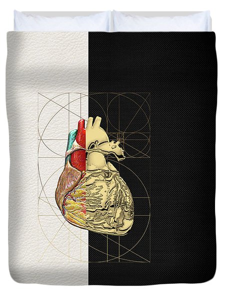 Dualities - Half-gold Human Heart On Black And White Canvas Duvet Cover