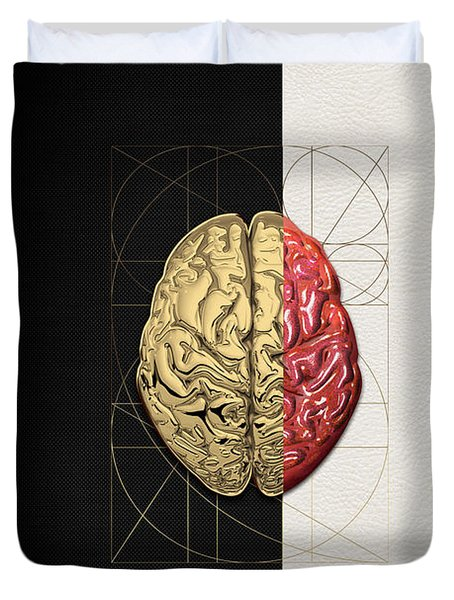 Dualities - Half-gold Human Brain On Black And White Canvas Duvet Cover