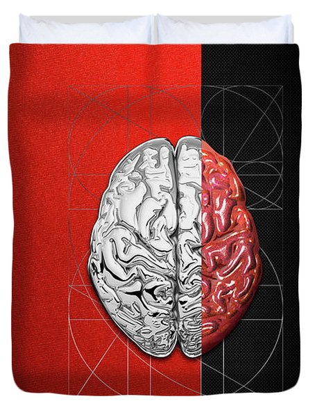 Dualities - Half-silver Human Brain On Red And Black Canvas Duvet Cover