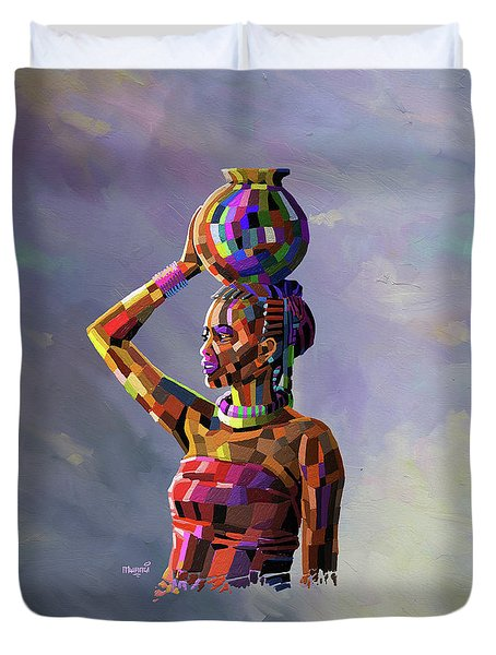 Girl Carrying Water Duvet Cover by Anthony Mwangi