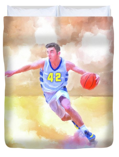 Duvet Cover featuring the painting The Art Of Basketball by Mark Tisdale