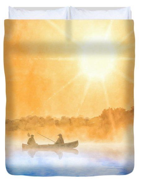 Quiet Moments - Fishing At Dawn Duvet Cover