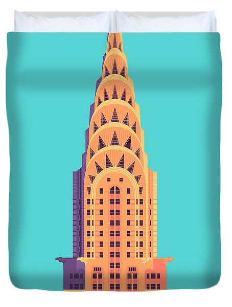 Chrysler Building - Cyan Duvet Cover