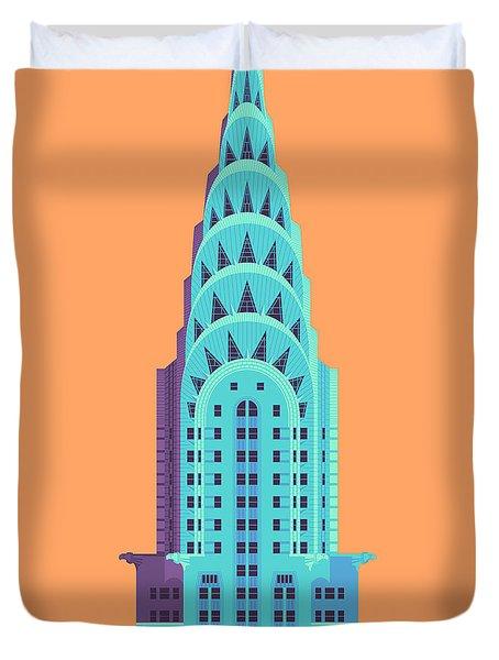 Chrysler Building - Orange Duvet Cover