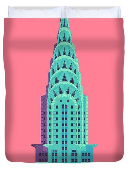 Chrysler Building - Red Duvet Cover