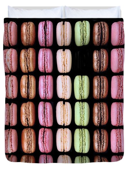 Duvet Cover featuring the photograph Macarons - One Missing by Nikolyn McDonald