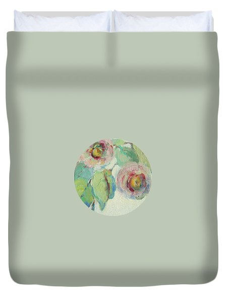 Duvet Cover featuring the painting Impressionist Roses  by Mary Wolf