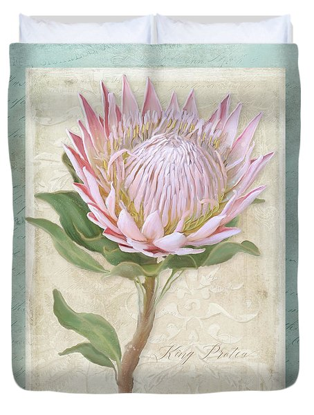 Duvet Cover featuring the painting King Protea Blossom - Vintage Style Botanical Floral 1 by Audrey Jeanne Roberts