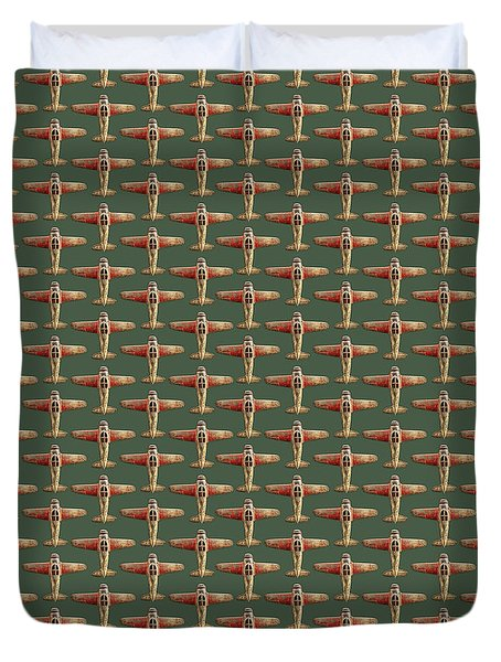 Toy Airplane Scrapper Pattern Duvet Cover by YoPedro
