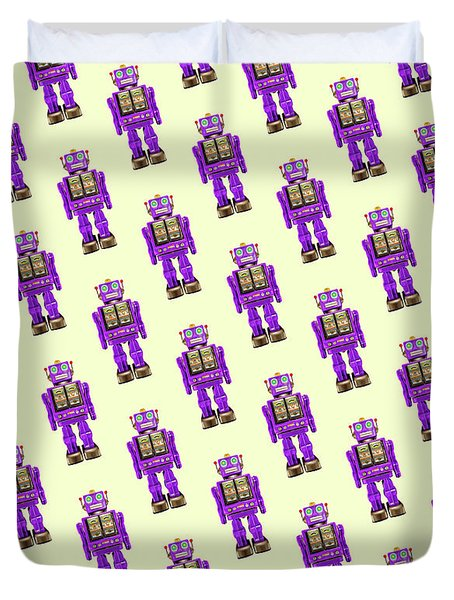 Star Strider Robot Purple Pattern Duvet Cover by YoPedro